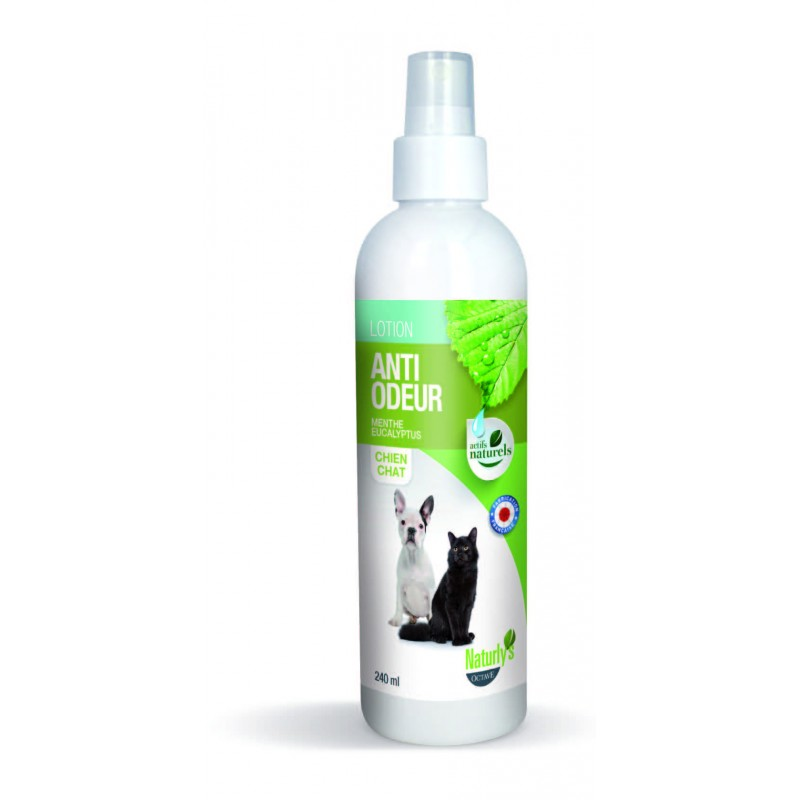 naturly 39 s lotion anti odeur menthe eucalyptus pour chien chat sans rin age 240ml les amis de. Black Bedroom Furniture Sets. Home Design Ideas