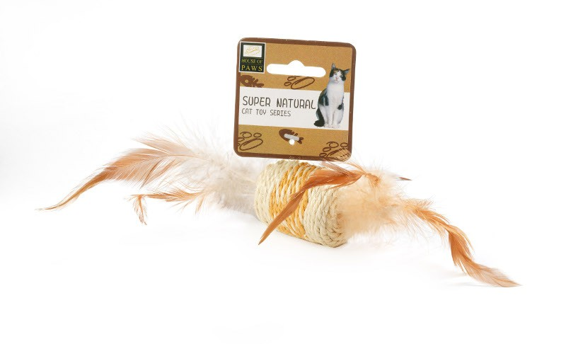 Jouet Sisal Cylindre à plumes pour chat - House of Paws