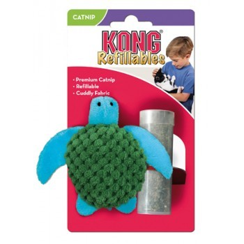 KONG Refillables Tortue - Jouet herbe à chat rechargeable