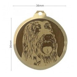 Médaille à graver - BEARDED COLLIE 36mm