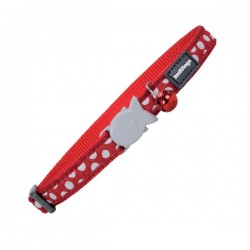 Collier RED DINGO Rouge Pois Blancs pour Chat