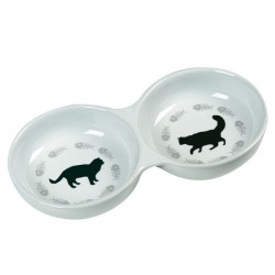 Double gamelle FISH CAT pour Chat en céramique 22 x 11 x 3.5cm