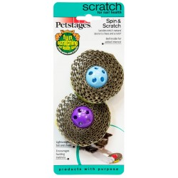 PETSTAGES Chat - Spin and Scratch - Griffoir ludique pour chat (lot de 2)