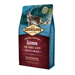 CARNILOVE Chat Adulte Sensitive and Long Hair Salmon sans céréales (saumon) - Croquettes Chat Poils longs et Digestion Sensible