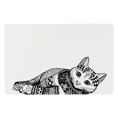 Set de Table tapis Chat noir et blanc ZENTANGLE 44*28cm - TRIXIE
