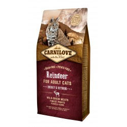 CARNILOVE REINDEER Energy and Outdoor pour Chat Adulte Actif sans céréales (renne) - Croquettes Chat