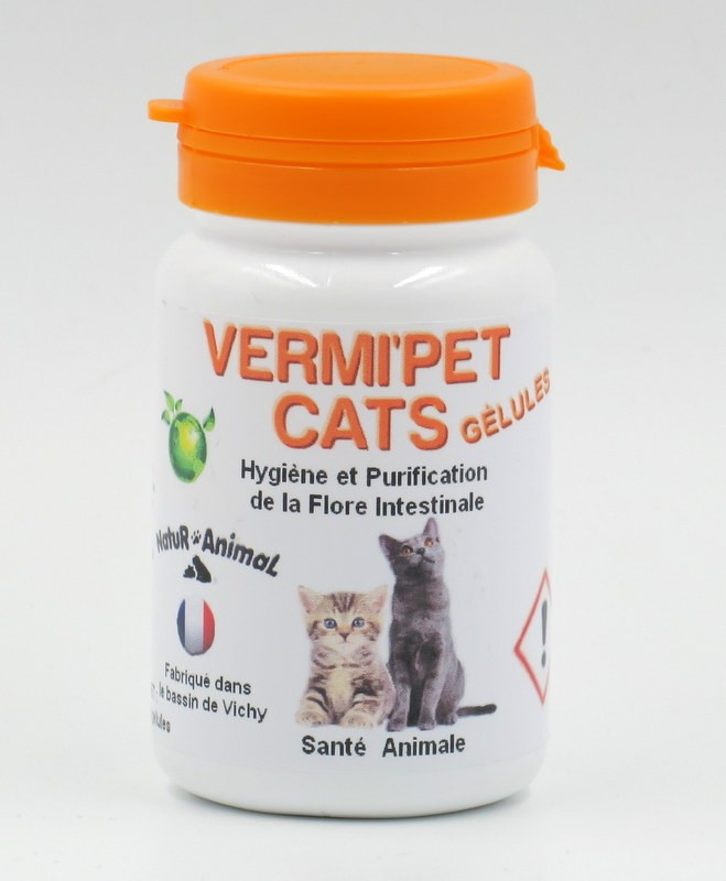 VERMI'PET CATS vermifuge naturel pour Chat (60 gélules)